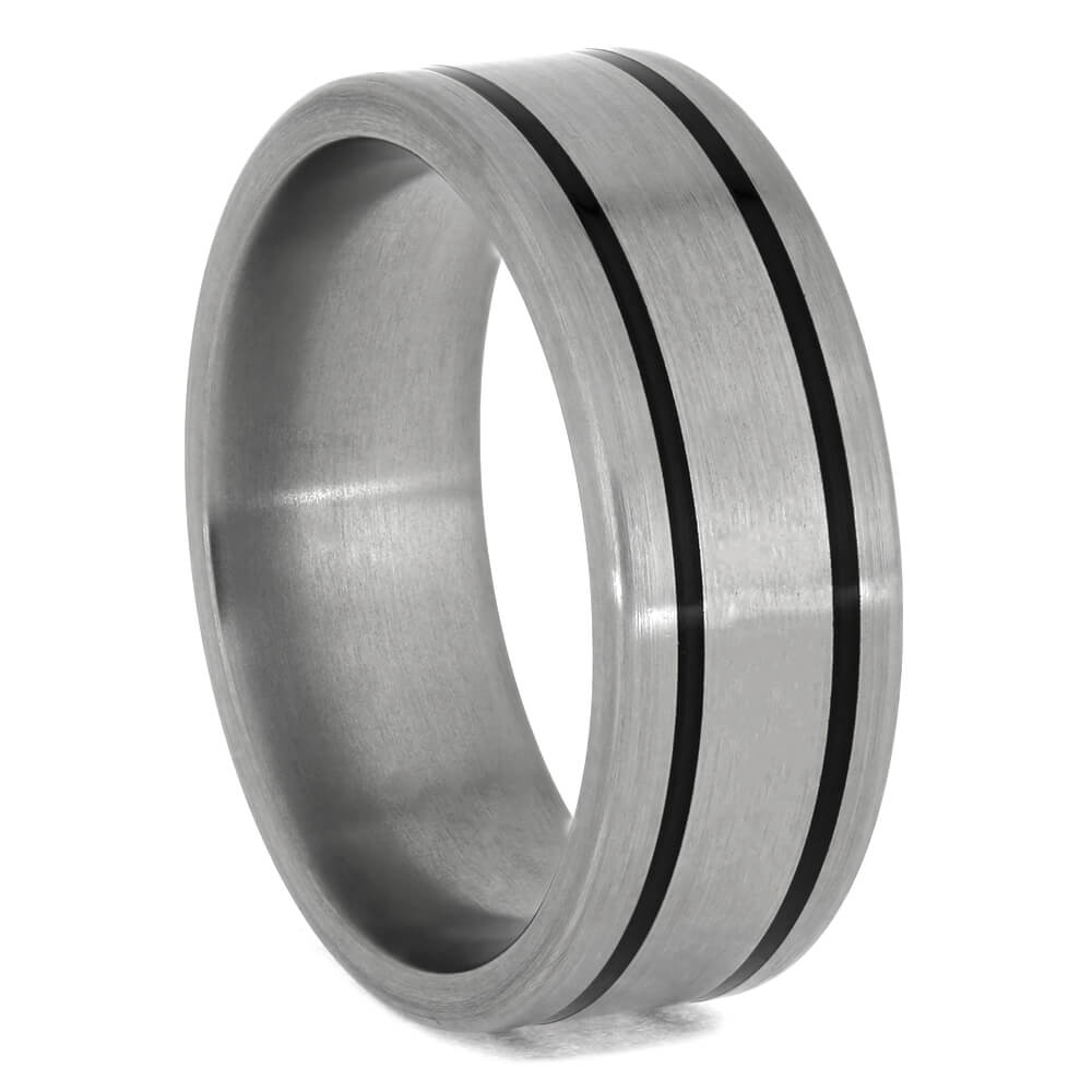 Titanium Ring with Black Enamel Pinstripes-1386 - Jewelry by Johan
