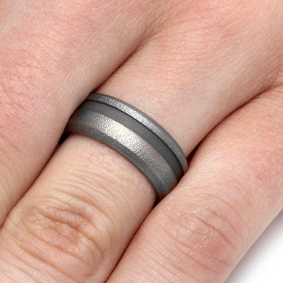 Wide Groove Sand Blasted Titanium Ring-1393