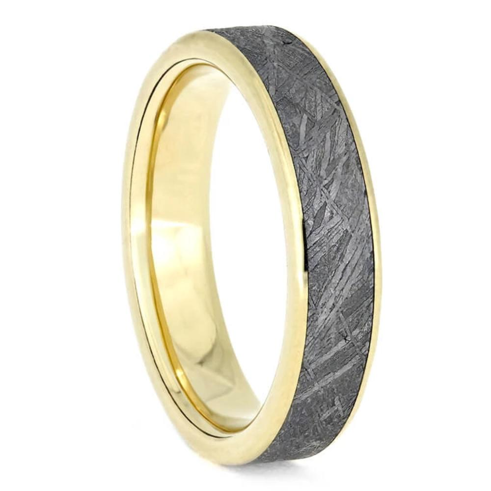 Yellow Gold Meteorite Wedding Band, Unisex Ring