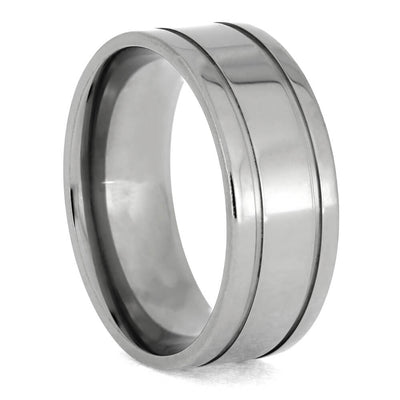 Titanium Ring with Two Pinstripe Grooves-1406 - Jewelry by Johan