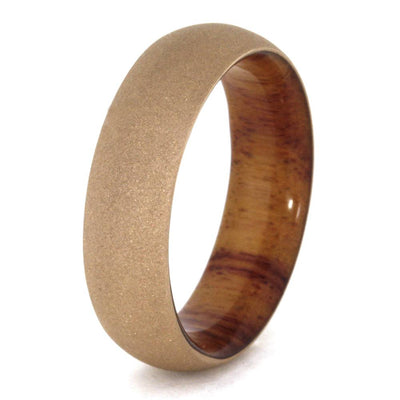 Rose Gold Wedding Ring with Sandblasted Finish, Wood Sleeve-3288 - Jewelry by Johan