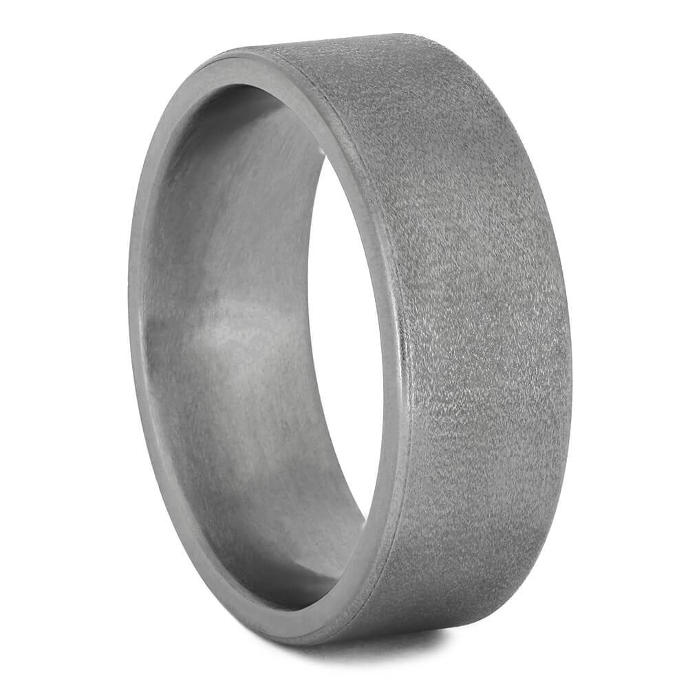 Titanium Wedding Band with Flat Profile and Deep Frosted Finish-1421 - Jewelry by Johan