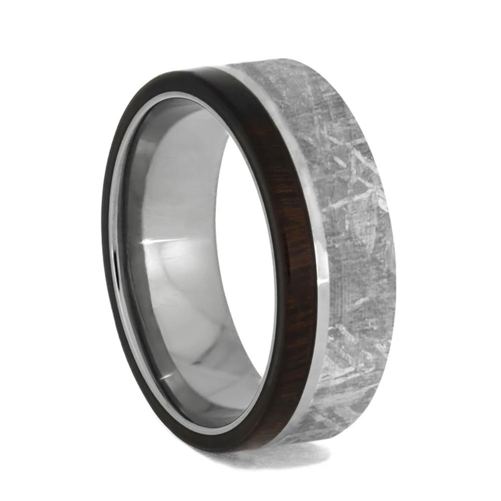 Tungsten Wedding Band With Meteorite And Ironwood-1427 - Jewelry by Johan
