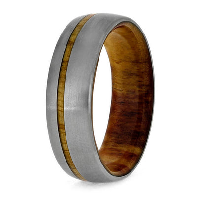 wood wedding band in titanium