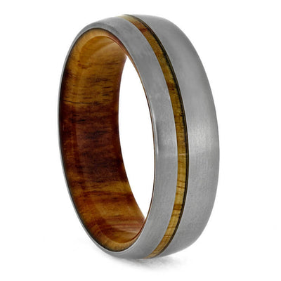 Olive Wood Wedding Ring with Wood Sleeve and Pinstripe