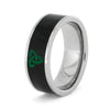 Jade Ring Engraved with Trinity Knot, Titanium Band