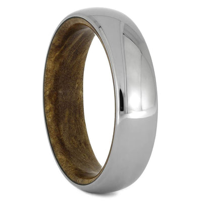 Mens Wedding Band, Titanium Ring with inner Exotic Wood Sleeve