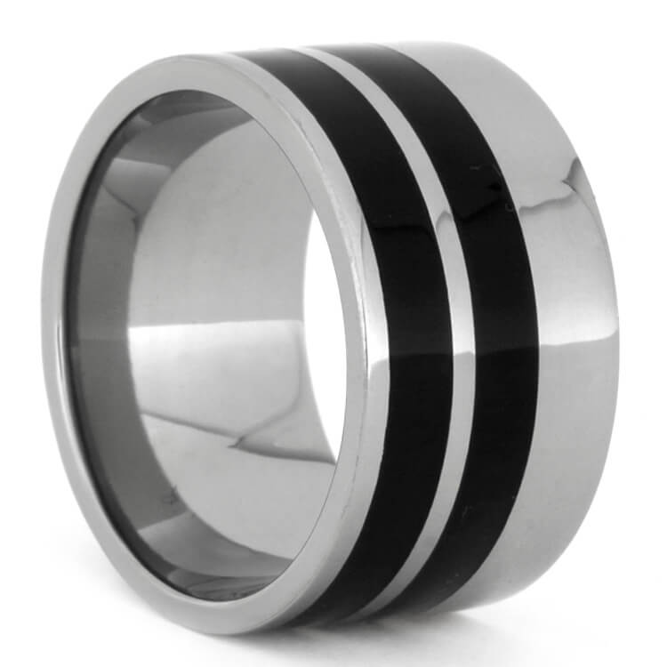 Thick Titanium Ring With Two African Blackwood Inlays, Size 8.5-RS9561 - Jewelry by Johan