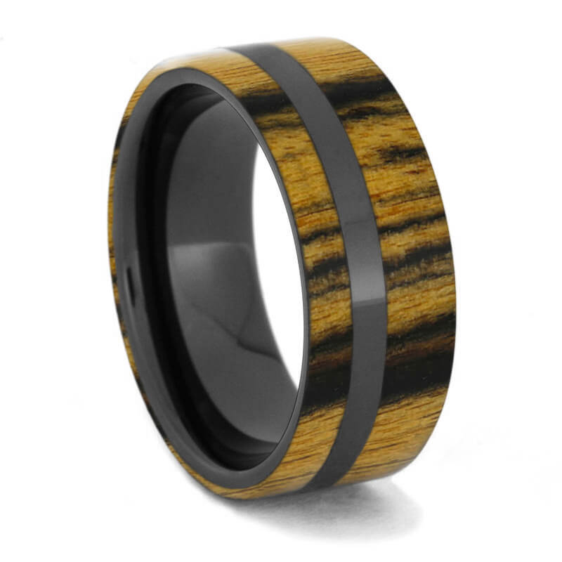 Ceramic Ring with Black and White Ebony Wood-1491 - Jewelry by Johan