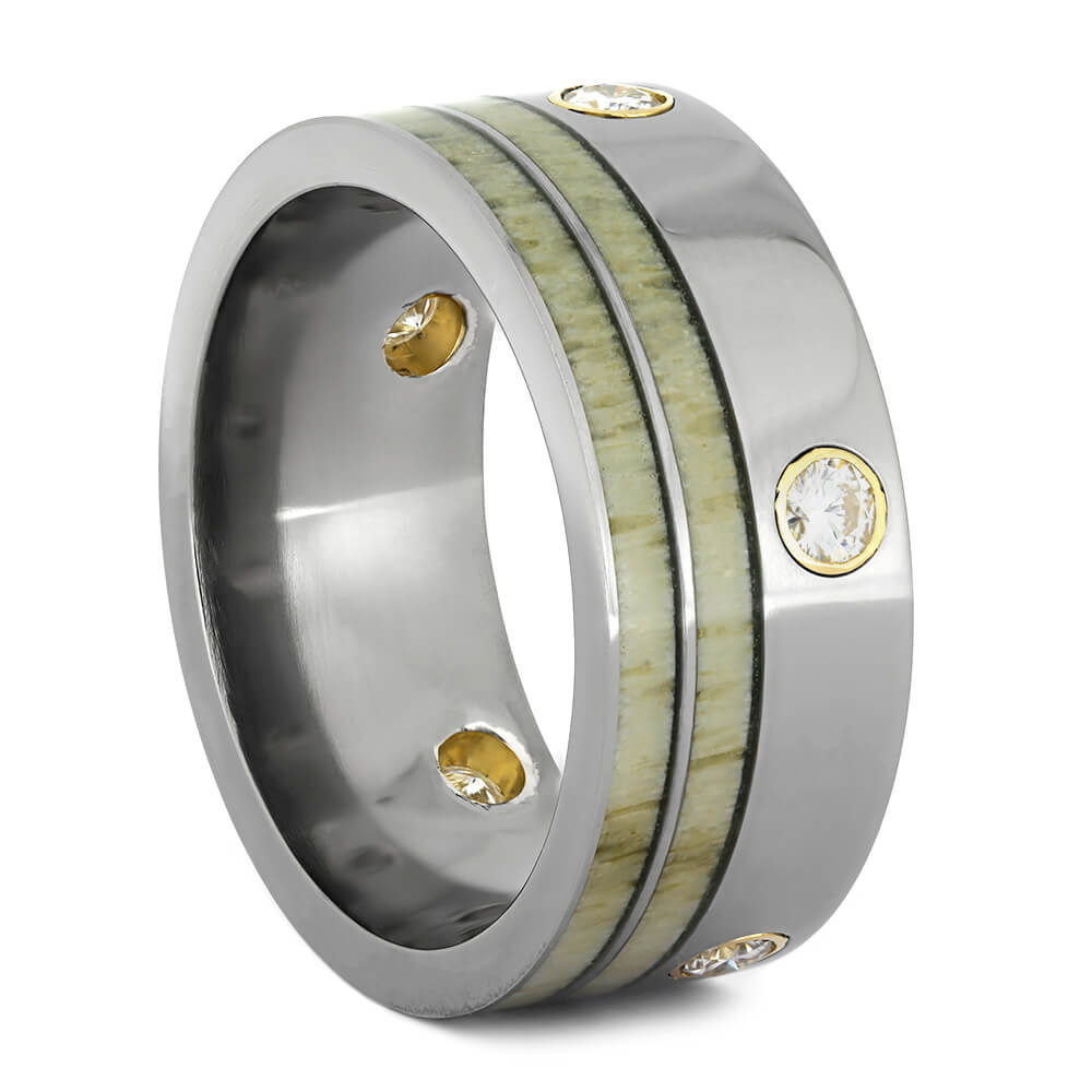 Dual Antler Wedding Band with Multiple Moissanites-1494 - Jewelry by Johan
