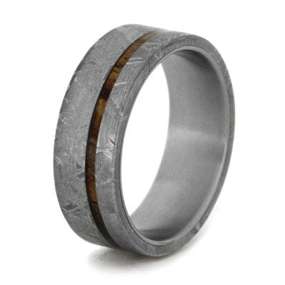 Meteorite Ring with Thin Koa Wood Pinstripe Over Titanium-1964 - Jewelry by Johan