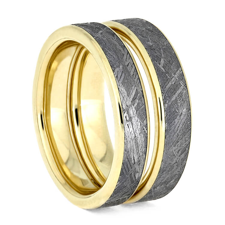 Meteorite Ring Set, Matching Wedding Bands With 14k Yellow Gold-3629 - Jewelry by Johan