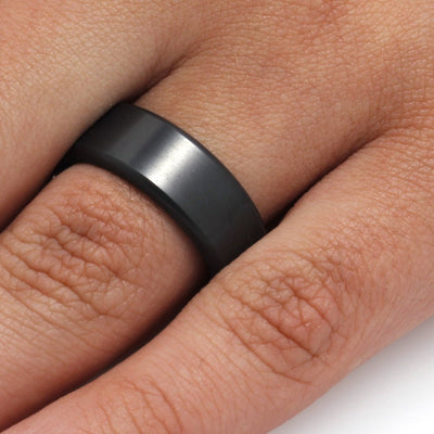 Elysium Ring with Beveled Profile, Black Ring with Polished Finish by Lashbrook Designs - EBM8 - Jewelry by Johan