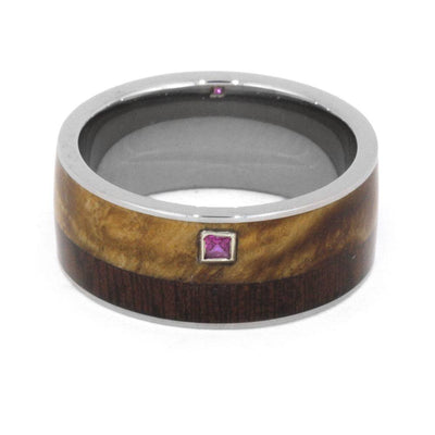 Wood Wedding Band, Princess Cut Ruby in 10k White Gold Setting-3221 - Jewelry by Johan