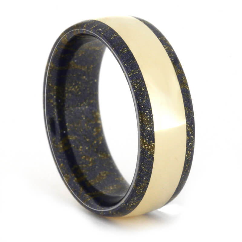 Black and Gold Mokume Gane Ring holding 14k Yellow Gold