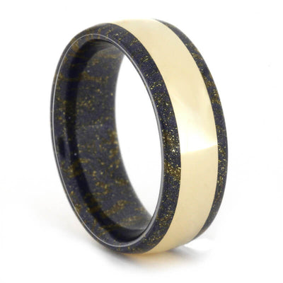 Black and Gold Mokume Gane Ring holding 14k Yellow Gold-1662 - Jewelry by Johan