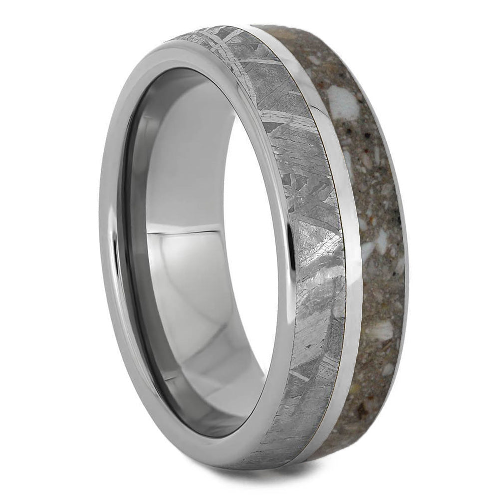 Titanium Cremation Ring With Meteorite-1522 - Jewelry by Johan