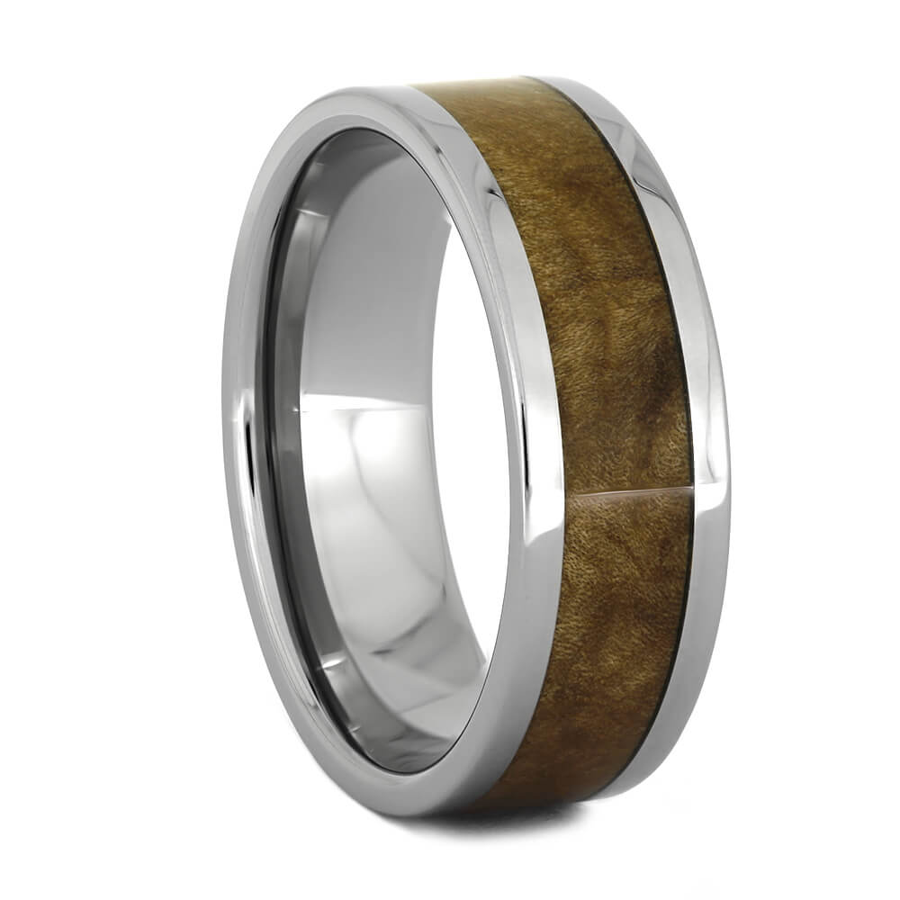 Black Ash Burl Wood Men's Wedding Band in Titanium-1523 - Jewelry by Johan
