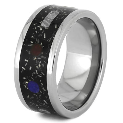 Planet Ring With Gibeon Meteorite And Real Stardust™ On Titanium Band-1554 - Jewelry by Johan