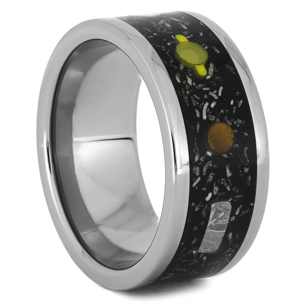 Galaxy Wedding Band with Black Stardust Sky