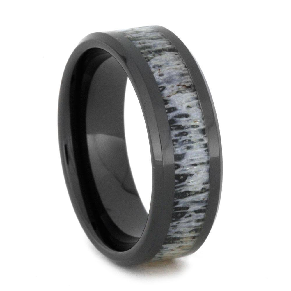 Black Ceramic Wedding Band With Deer Antler Inlay