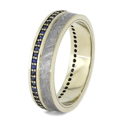 Eternity Band, Gibeon Meteorite with Beautiful Blue Sapphires-1572 - Jewelry by Johan