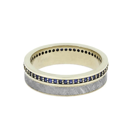 Eternity Band, Gibeon Meteorite with Beautiful Blue Sapphires