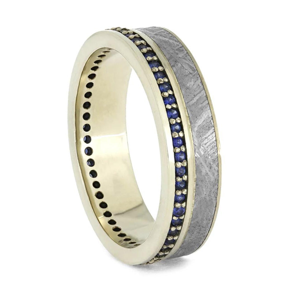 White Gold Eternity Ring With Sapphires And Meteorite, Size 4.5-RS9660 - Jewelry by Johan