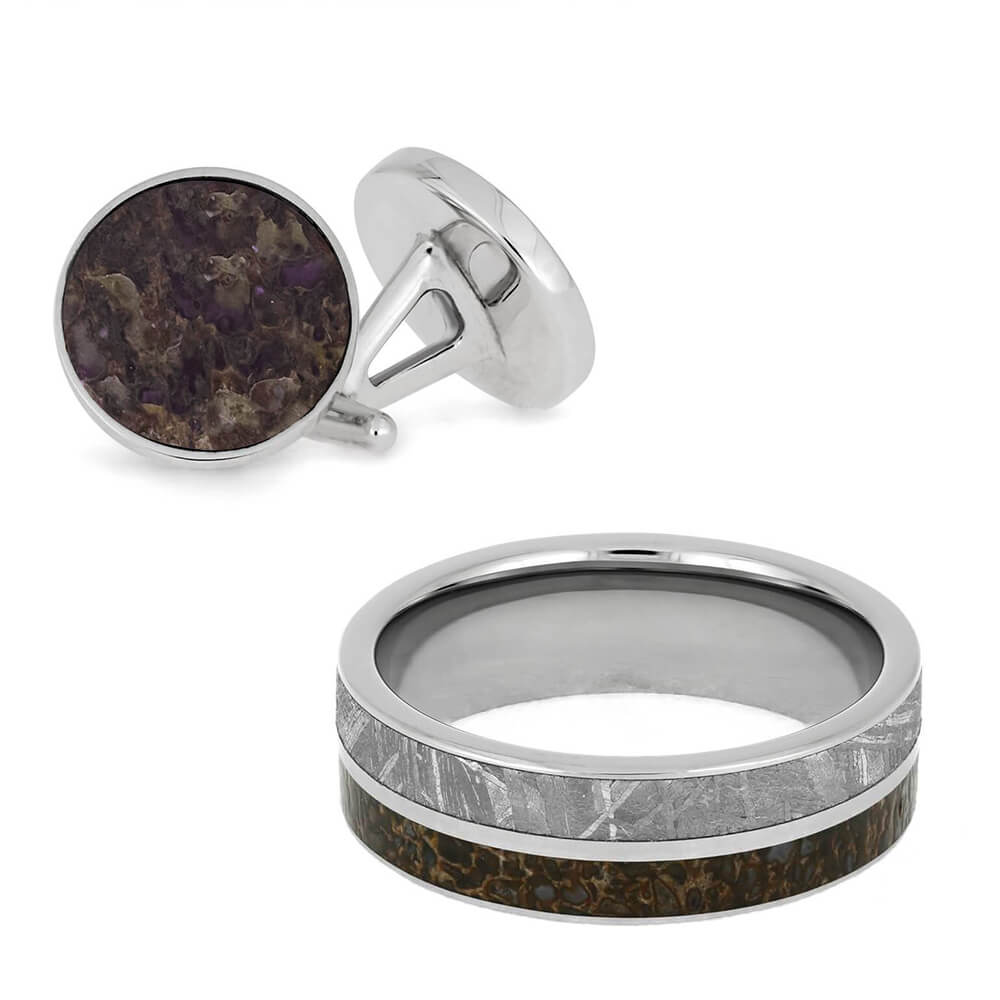 Coordinating Meteorite and Dinosaur Bone Ring and Cuff Links