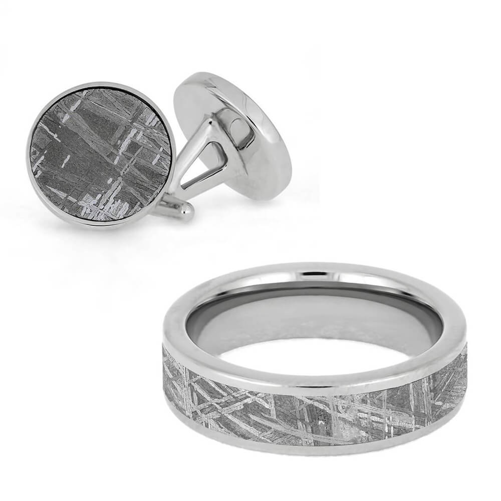 Meteorite Ring and Cuff Links Set