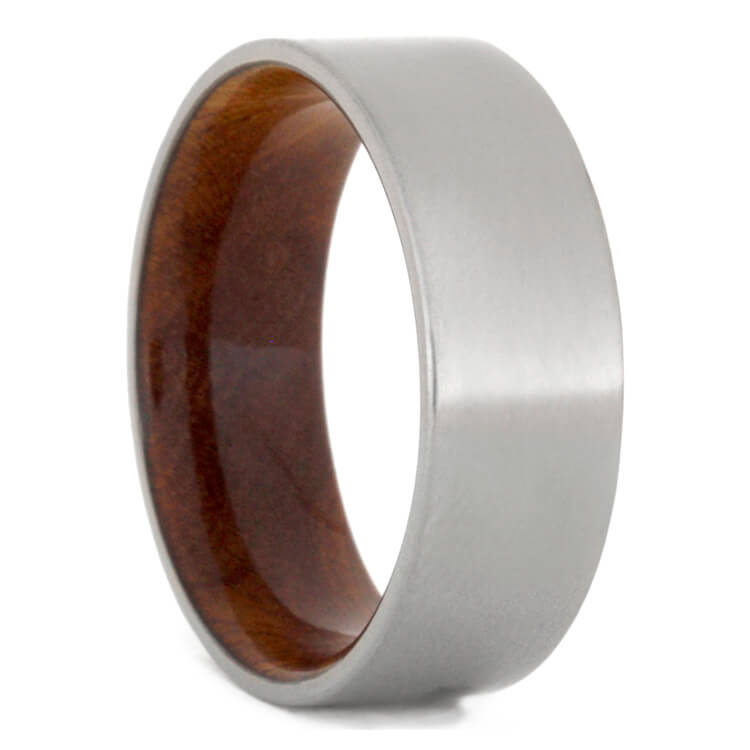 Titanium Wedding Band With Sindora Wood Inside, Size 8.25-RS9709 - Jewelry by Johan