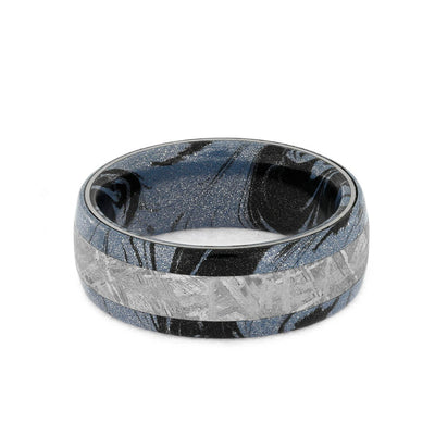 Mens Mokume Ring With Meteorite Band, Cobaltium Mokume-1596 - Jewelry by Johan