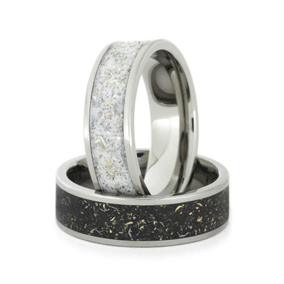 Black And White Stardust Wedding Band Set, Titanium Rings