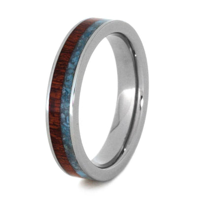 Womens Wedding Band with Crushed Turquoise and Bloodwood-2947 - Jewelry by Johan
