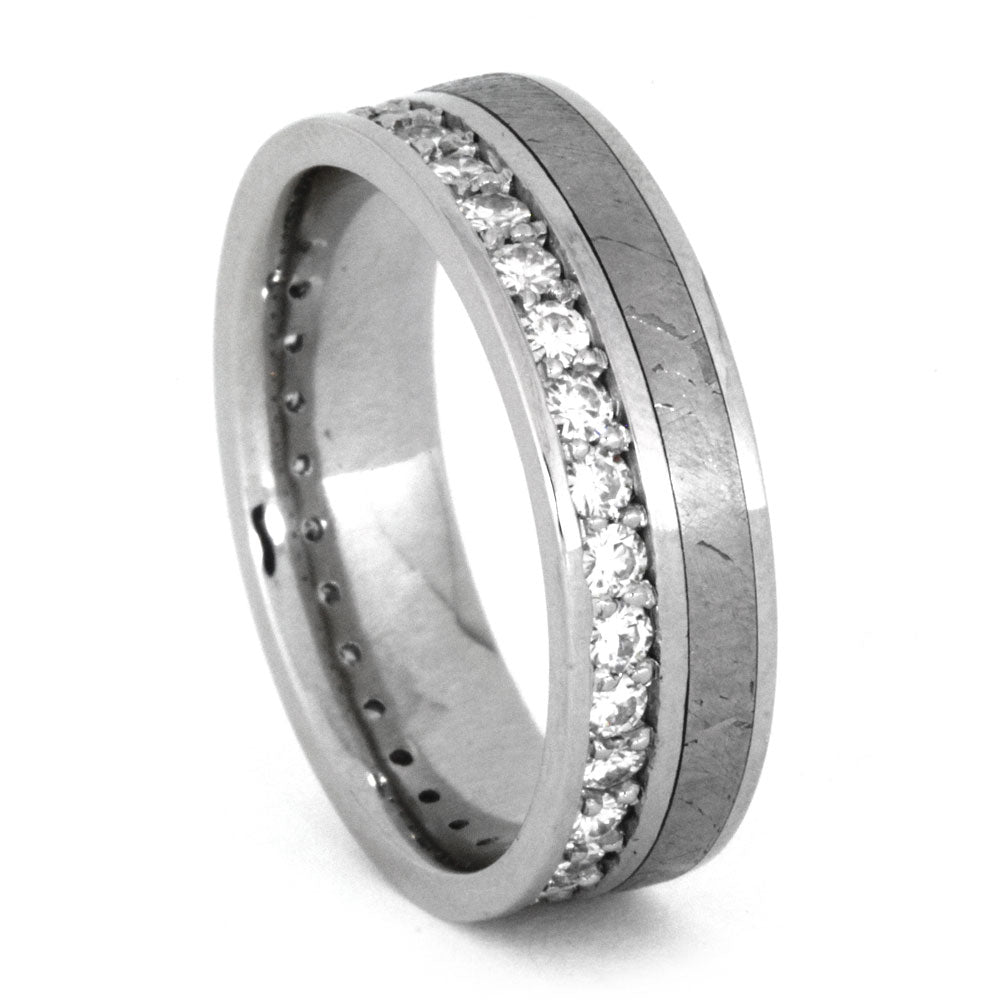 Moissanite Eternity Band in Platinum with Meteorite Inlay-3237 - Jewelry by Johan