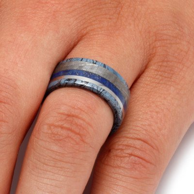 Blue Meteorite Wedding Band