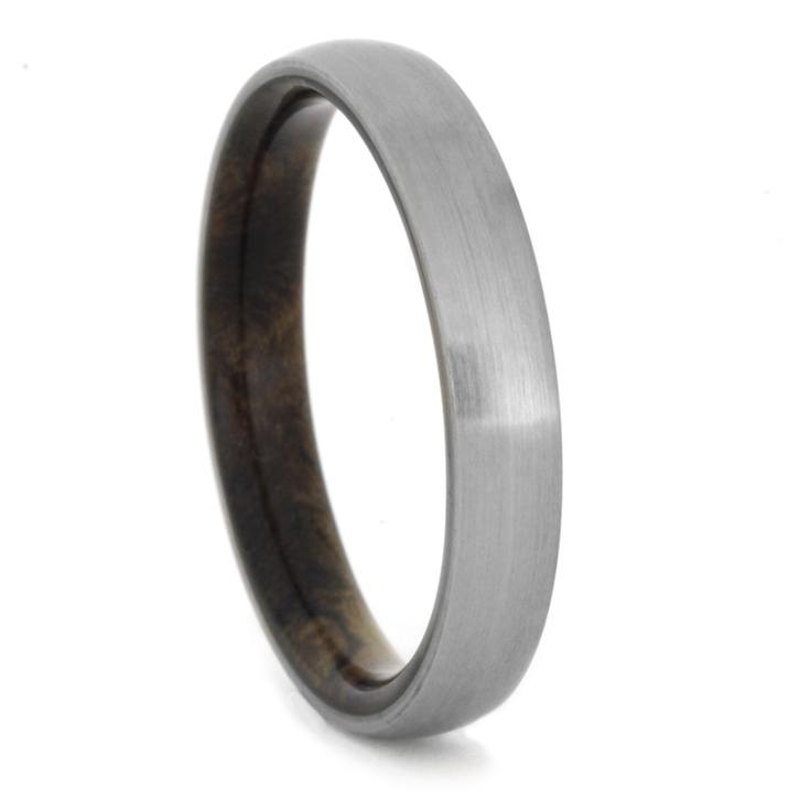 Thin Brushed Titanium Ring With Buckeye Burl Wood, Size 10.75-RS8359 - Jewelry by Johan