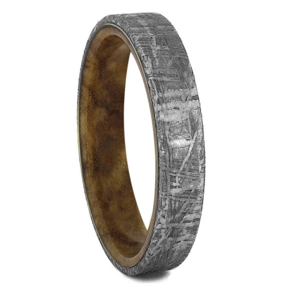 Meteorite Overlay Wedding Band With Burl Wood Inside - Jewelry by Johan