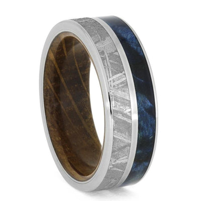 Meteorite, Blue Box Elder Burl, And Titanium Ring With Whiskey Wood Sleeve-3933 - Jewelry by Johan