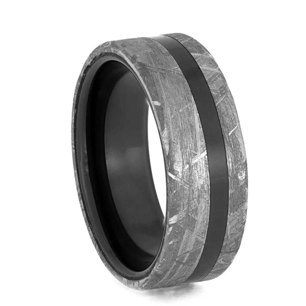 Black Ceramic Men's Wedding Band With Gibeon Meteorite Edges-3934 - Jewelry by Johan