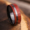 Black Men's Wedding Band with Red Wood