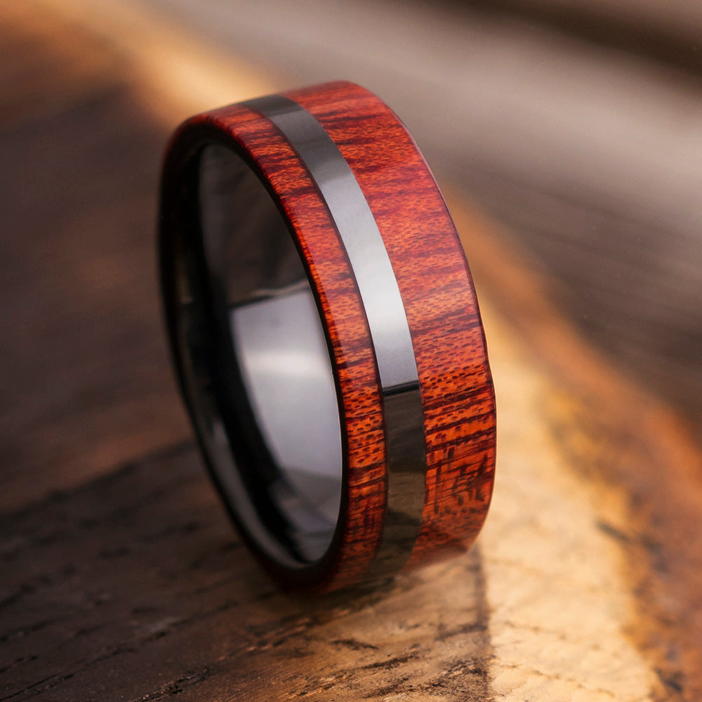 Bloodwood Black Ceramic Men's Wedding Band, In Stock-SIG3018 - Jewelry by Johan
