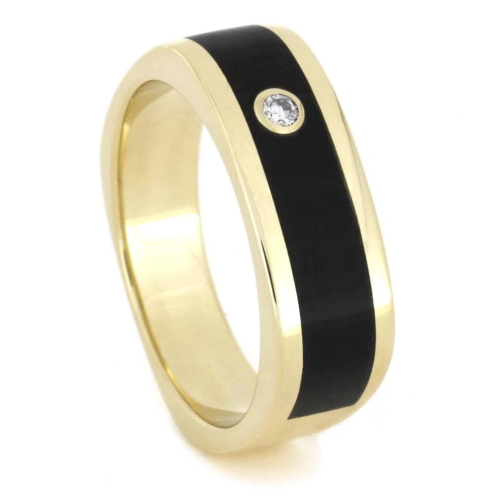 14k Yellow Gold Ring with Ebony Wood holding Round Diamond-1651 - Jewelry by Johan