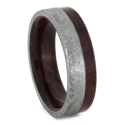 Meteorite Wedding Band, Ruby Redwood Offset Inlay And Sleeve