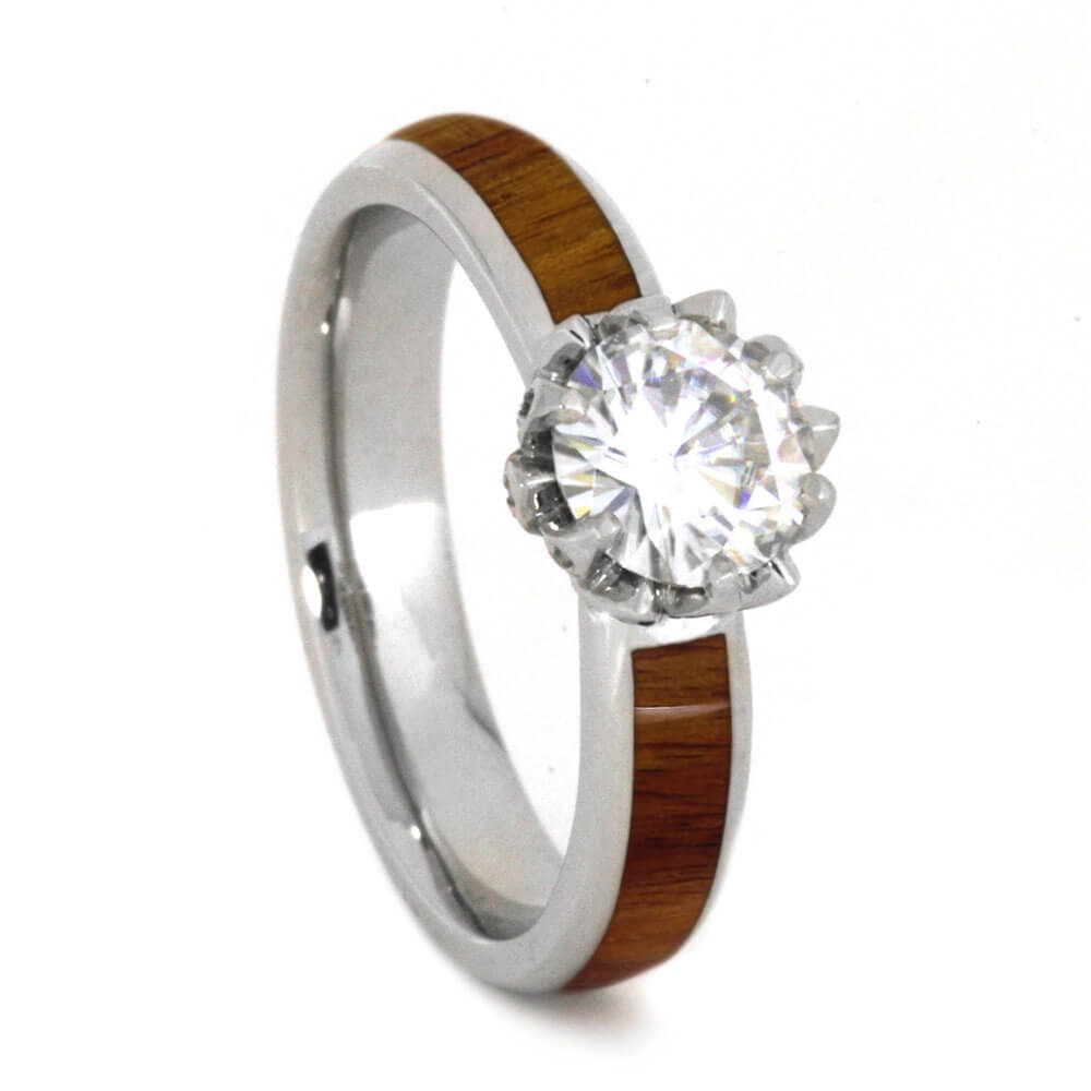 Lotus Flower Engagement Ring, Moissanite Ring With Tulipwood Band-3690 - Jewelry by Johan
