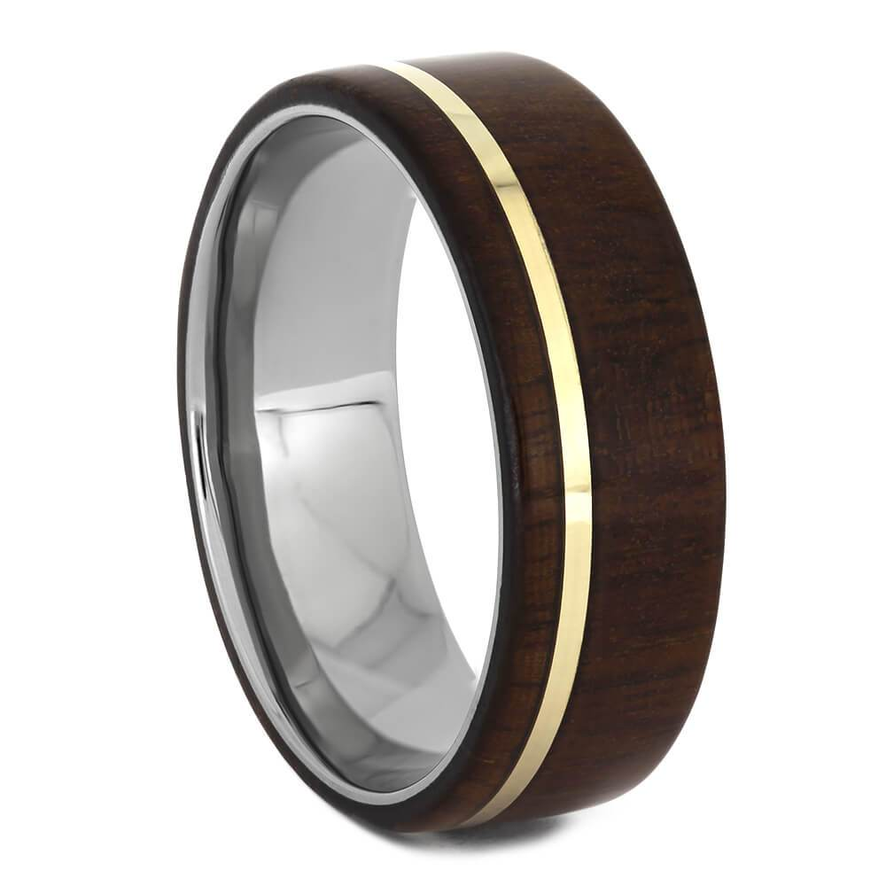 Ipe Wood Ring, Yellow Gold Pinstripe over Titanium-1649 - Jewelry by Johan