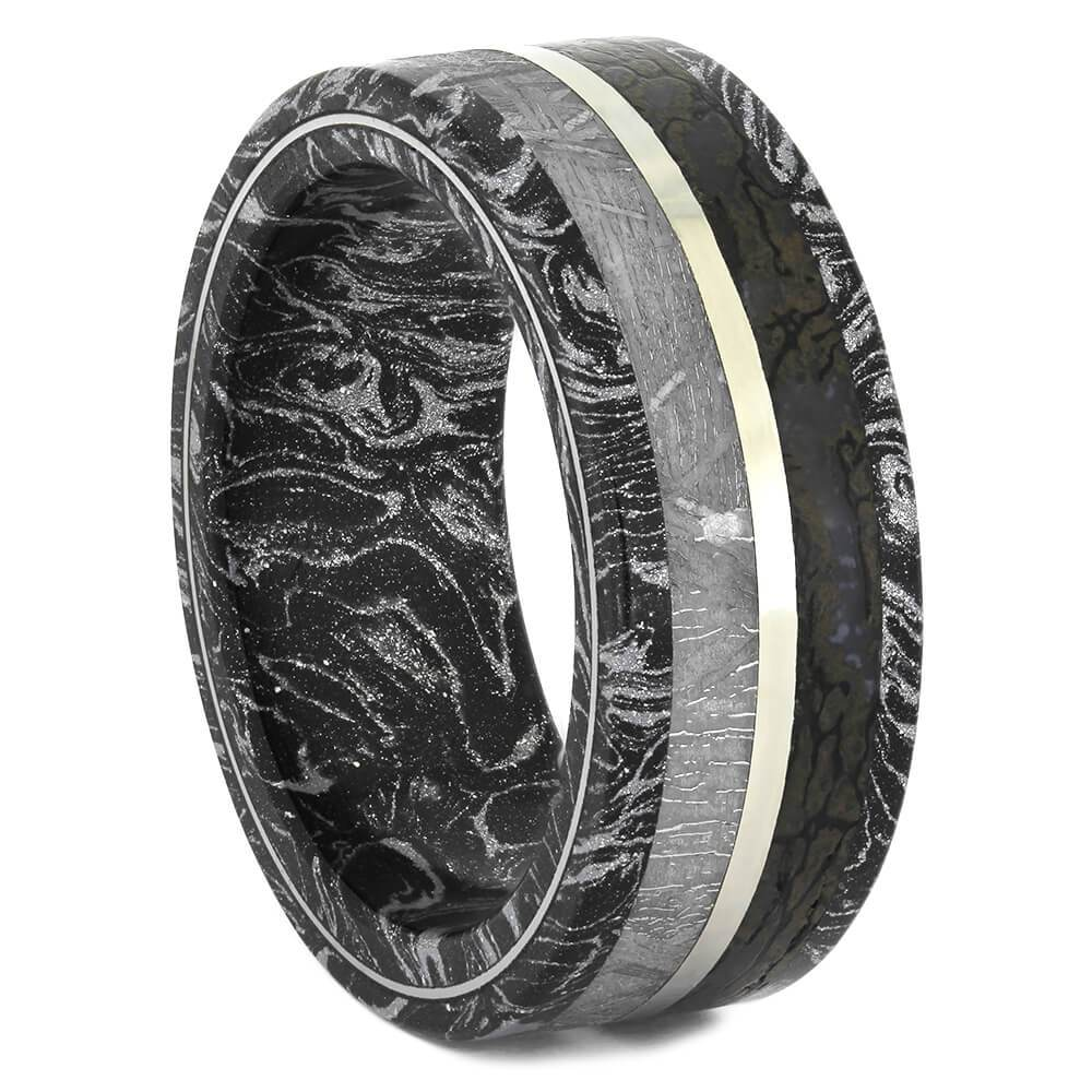 Black and White Mokume Ring with Meteorite and Dinosaur Bone