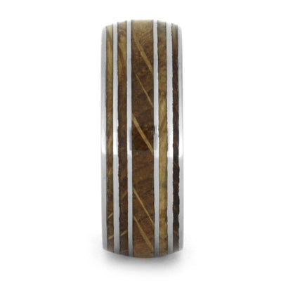 Authentic Oak Wood Whiskey Barrel Ring With Titanium Pinstripes-1656 - Jewelry by Johan