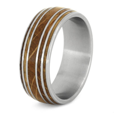 men's ring with whiskey barrel wood