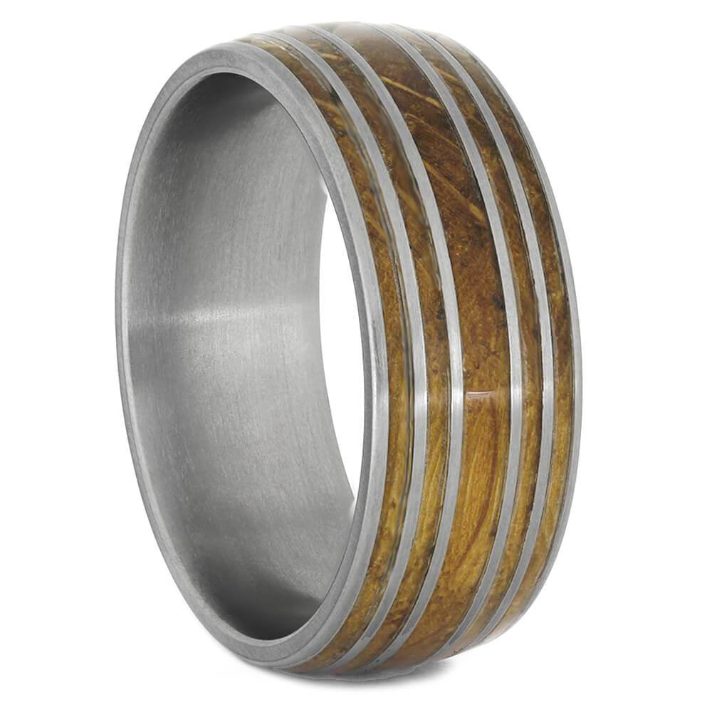 Authentic Oak Wood Whiskey Barrel Ring With Titanium Pinstripes - Jewelry by Johan